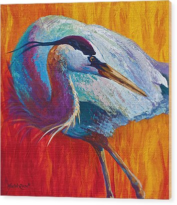 Second Glance - Great Blue Heron Wood Print by Marion Rose