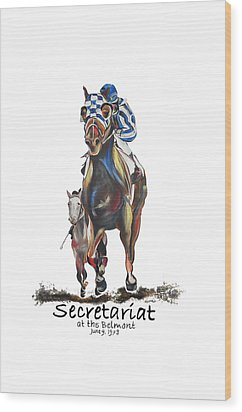 Secretariat At The Belmont Mural Wood Print by Amanda  Sanford