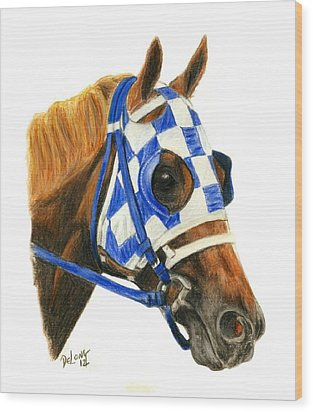 Secretariat With Blinkers Wood Print