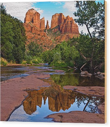 Sedona Cathedral Rock Reflections Wood Print