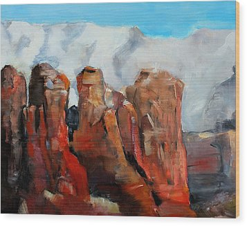 Sedona Coffee Pot Rock Painting Wood Print by Michele Carter