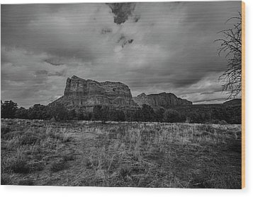 Wood Print featuring the photograph Sedona Red Rock Country Arizona Bnw 0177 by David Haskett