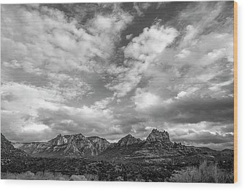 Wood Print featuring the photograph Sedona Red Rock Country Bnw Arizona Landscape 0986 by David Haskett