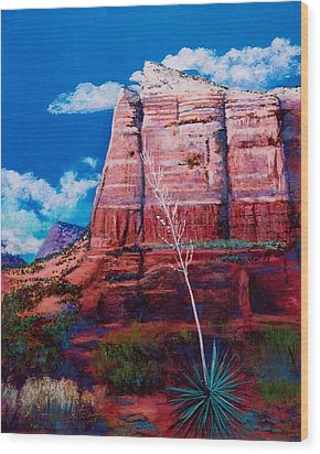 Wood Print featuring the painting Sedona Red Rock by M Diane Bonaparte