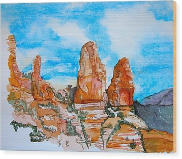 Wood Print featuring the painting Sedona Red Rocks by Sharon Mick