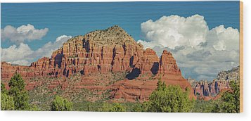 Wood Print featuring the photograph Sedona, Rocks And Clouds by Bill Gallagher