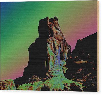 Sedona Solarized Wood Print by Barry Shaffer