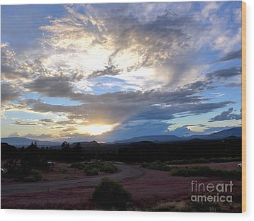 Sedona Sunset Sky Wood Print