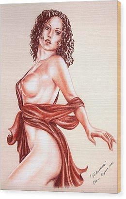 Seductrice Wood Print by Vera Sayous