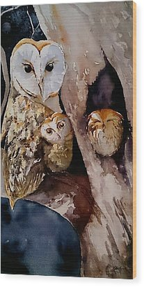 See You At Midnight Wood Print by Kathy  Karas