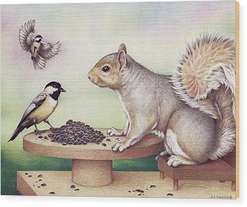 Seed For Two Wood Print by Amy S Turner