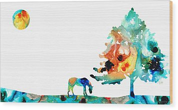 Seeking Shelter - Colorful Horse Art Painting Wood Print by Sharon Cummings