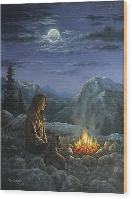Wood Print featuring the painting Seeking Solace by Kim Lockman