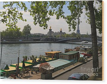 Seine Barges In Paris In Spring Wood Print by Louise Heusinkveld