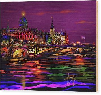 Seine, Paris Wood Print by DC Langer