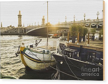 Seine River With Barges And Boats, Pont De Alexandre Bridge Behind, Paris France. Wood Print by Perry Van Munster