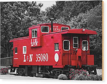 Wood Print featuring the photograph Selective Color Red Caboose by Parker Cunningham