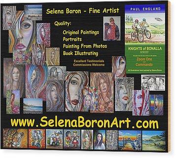 Wood Print featuring the painting Selena Boron Photo Card 1 by Selena Boron