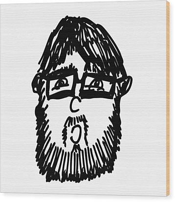Self Comic Drawing Wood Print by Karl Addison