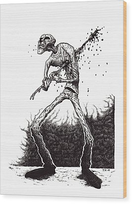 Self Inflicted Wood Print by Tobey Anderson