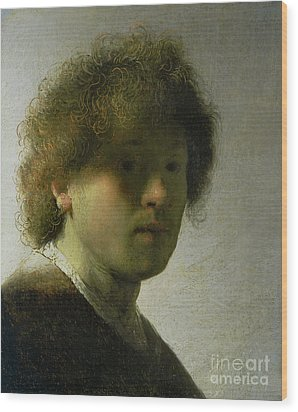 Self Portrait As A Young Man Wood Print by Rembrandt