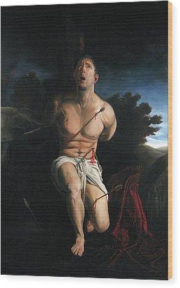 Self Portrait As St. Sebastian Wood Print by Eric  Armusik
