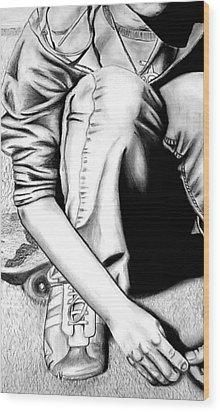 Self Portrait Wood Print by Jera Sky