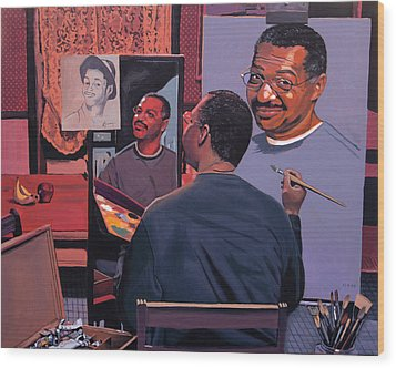 Self Portrait Wood Print by Kenneth Young