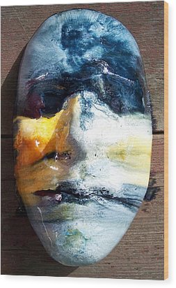 Self Portrait Life Mask Wood Print by Trey Berry