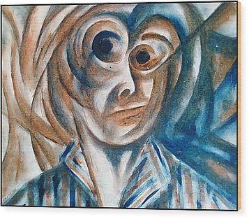 Self-portrait  Wood Print by Paulo Zerbato