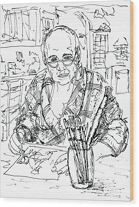 Self Portrait Six Am My Kitchen Wood Print