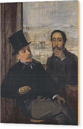 Self Portrait With Evariste De Valernes Wood Print by Edgar Degas