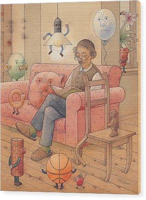 Self-portrait With My Things Wood Print by Kestutis Kasparavicius