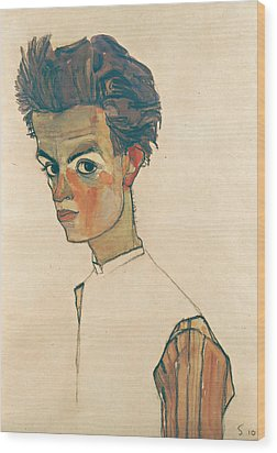 Self-portrait With Striped Shirt Wood Print
