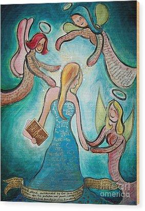 Self Portrait With Three Spirit Guides Wood Print by Carola Joyce