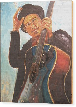 Self Potrait As Bob Dylan  Wood Print by Udi Peled