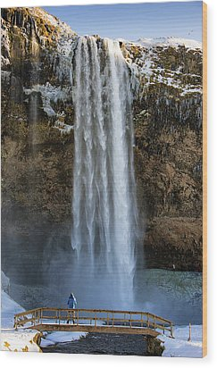 Wood Print featuring the photograph Seljalandsfoss Waterfall Iceland Europe by Matthias Hauser