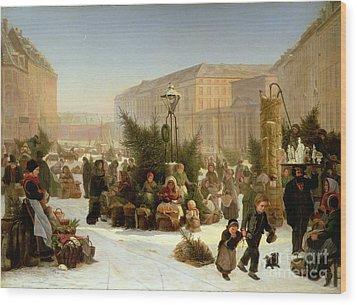 Selling Christmas Trees Wood Print by David Jacobsen