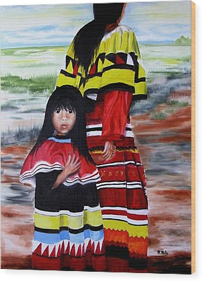 Seminole Mother And Child Wood Print