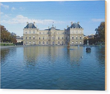 Wood Print featuring the photograph Senat From Jardin Du Luxembourg by Christopher Kirby
