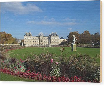 Wood Print featuring the photograph Senate From Jardin Du Luxembourg by Christopher Kirby