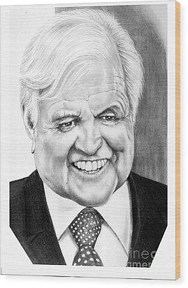 Senator Edward Kennedy Wood Print by Murphy Elliott