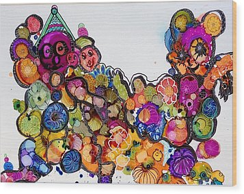 Send In The Clowns Wood Print by Suzanne Canner