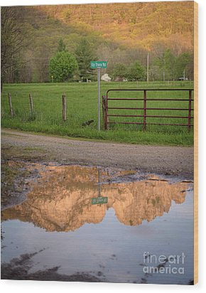 Seneca Rocks Reflection Wood Print by Dr Regina E Schulte-Ladbeck
