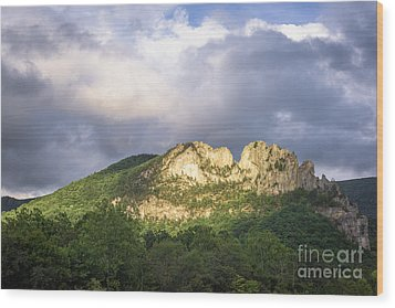Seneca Rocks With Clouds Wood Print by Dr Regina E Schulte-Ladbeck