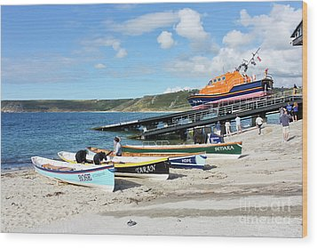 Sennen Cove Lifeboat And Pilot Gigs Wood Print by Terri Waters