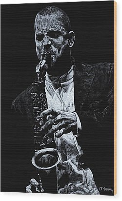 Sensational Sax Wood Print by Richard Young
