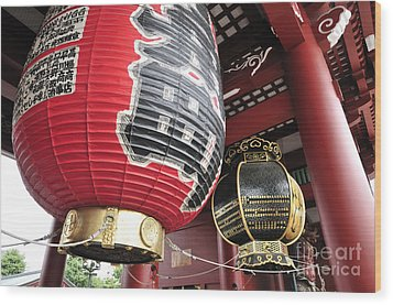 Sensoji Lanterns Wood Print by Andy Smy