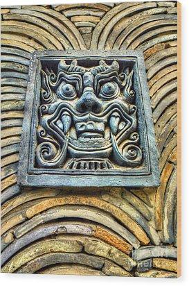 Seoul Mask Tile Wood Print by Michael Garyet