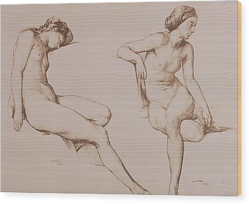 Sepia Drawing Of Nude Woman Wood Print by William Mulready